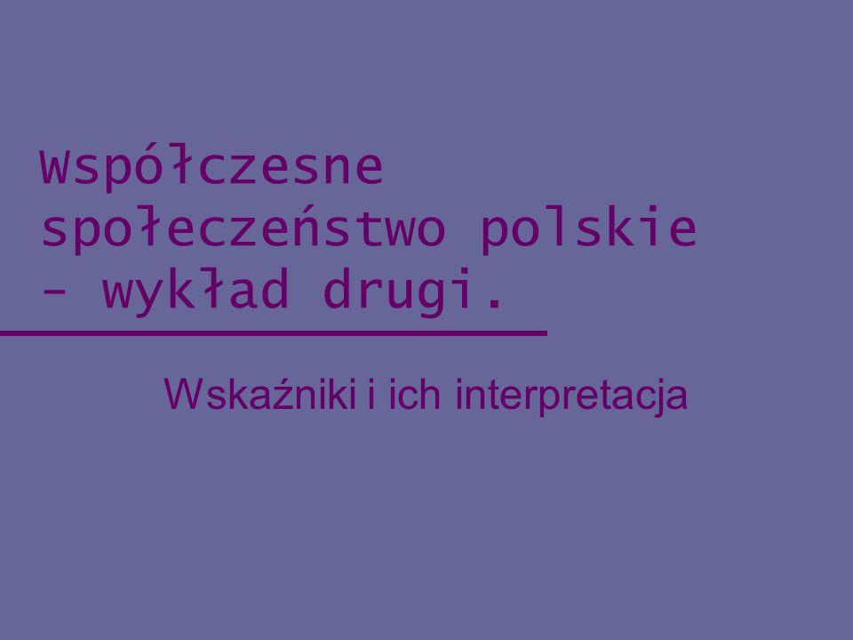 Współczesne społeczeństwo polskie - wykład drugi. Wskaźniki i ich interpretacja