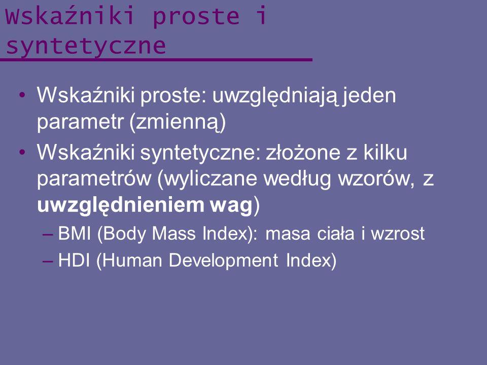 Wskaźniki proste i syntetyczne Wskaźniki proste: uwzględniają jeden parametr (zmienną) Wskaźniki syntetyczne: złożone z kilku parametrów (wyliczane we
