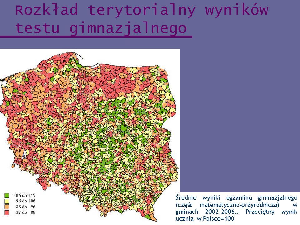 Rozkład terytorialny wyników testu gimnazjalnego Średnie wyniki egzaminu gimnazjalnego (część matematyczno-przyrodnicza) w gminach 2002-2006.. Przecię
