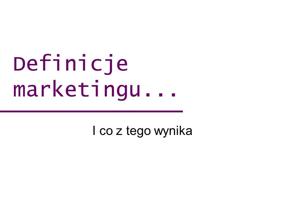 Marketing jest procesem zarządczym ukierunkowanym na maksymalizację zwrotów dla udziałowców poprzez wdrażanie strategii mających na celu budowanie opartych na zaufaniu relacji z wartościowymi klientami oraz tworzenie trwałej przewagi różnicującej (Peter Doyle, Marketing wartości) Definicje …