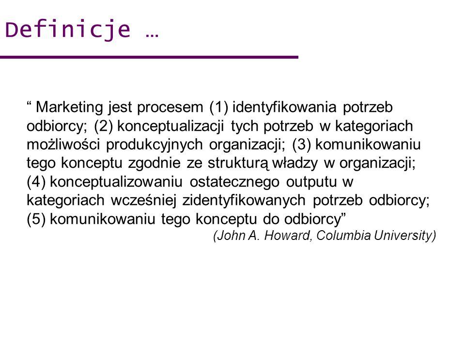 Marketing jest procesem (1) identyfikowania potrzeb odbiorcy; (2) konceptualizacji tych potrzeb w kategoriach możliwości produkcyjnych organizacji; (3