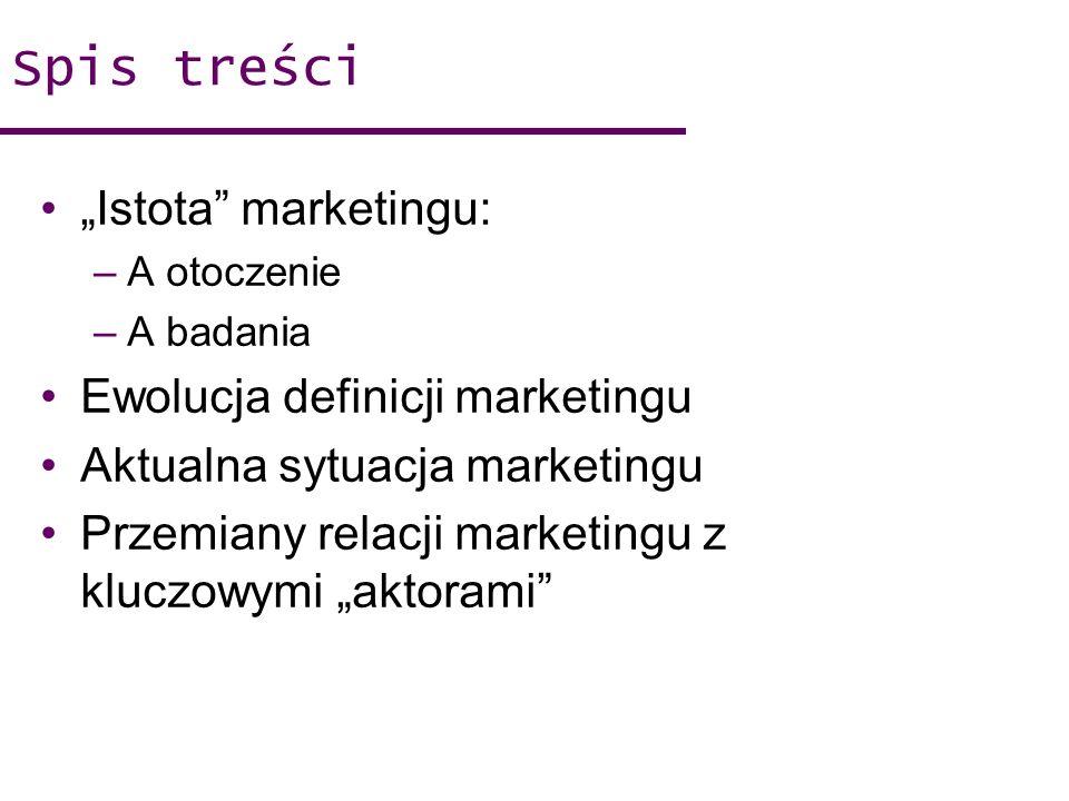 Spis treści Istota marketingu: –A otoczenie –A badania Ewolucja definicji marketingu Aktualna sytuacja marketingu Przemiany relacji marketingu z klucz