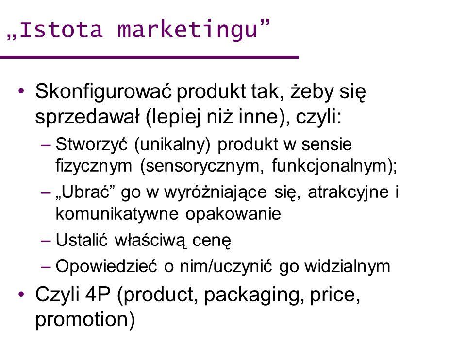 Istota marketingu Skonfigurować produkt tak, żeby się sprzedawał (lepiej niż inne), czyli: –Stworzyć (unikalny) produkt w sensie fizycznym (sensoryczn
