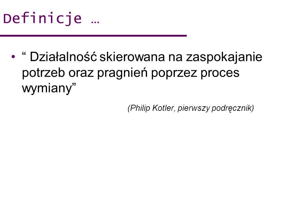 Definicje … Działalność skierowana na zaspokajanie potrzeb oraz pragnień poprzez proces wymiany (Philip Kotler, pierwszy podręcznik)