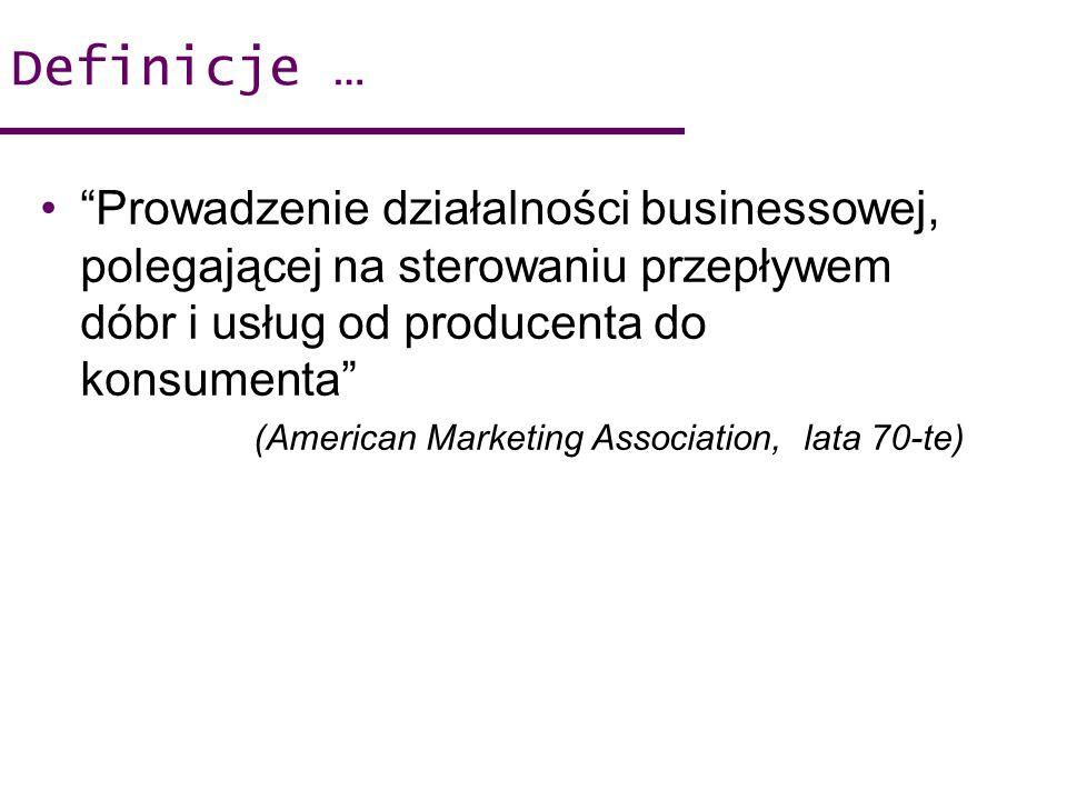 Definicje … Prowadzenie działalności businessowej, polegającej na sterowaniu przepływem dóbr i usług od producenta do konsumenta (American Marketing A