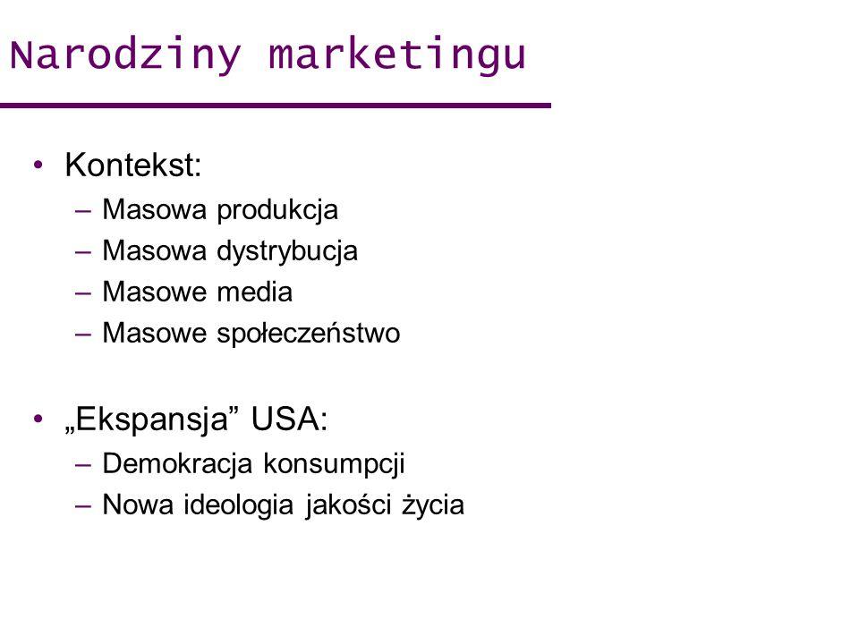 Narodziny marketingu Kontekst: –Masowa produkcja –Masowa dystrybucja –Masowe media –Masowe społeczeństwo Ekspansja USA: –Demokracja konsumpcji –Nowa i