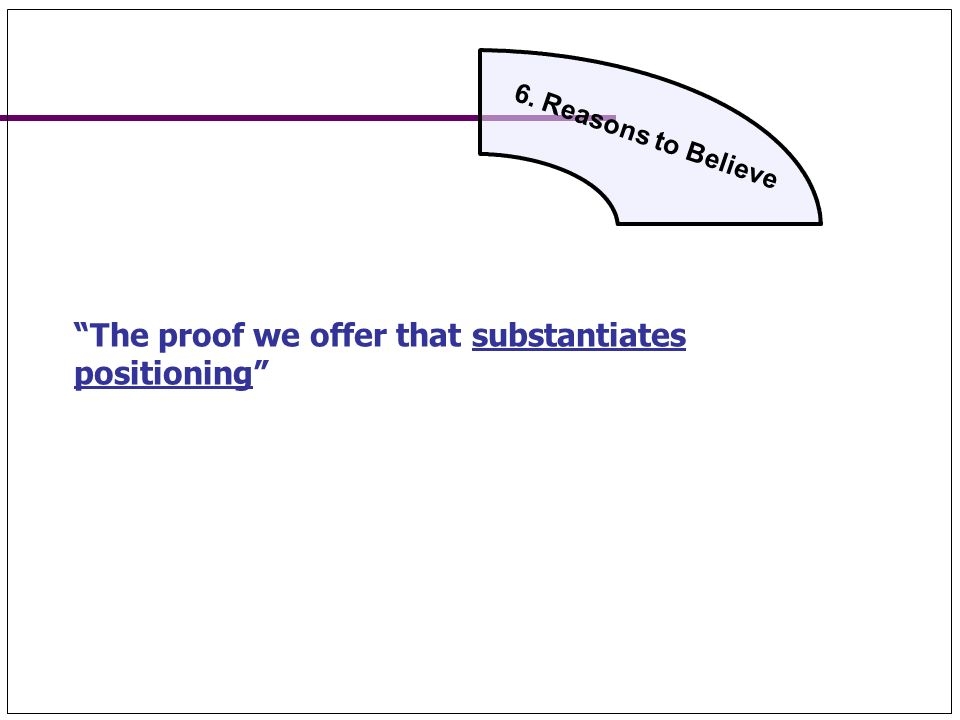 6. Reasons to Believe The proof we offer that substantiates positioning