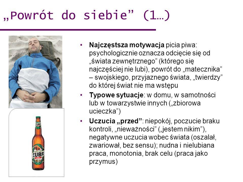 Powrót do siebie (1…) Najczęstsza motywacja picia piwa: psychologicznie oznacza odcięcie się od świata zewnętrznego (którego się najczęściej nie lubi), powrót do matecznika – swojskiego, przyjaznego świata, twierdzy do której świat nie ma wstępu Typowe sytuacje: w domu, w samotności lub w towarzystwie innych (zbiorowa ucieczka) Uczucia przed: niepokój, poczucie braku kontroli, nieważności (jestem nikim), negatywne uczucia wobec świata (oszalał, zwariował, bez sensu); nudna i nielubiana praca, monotonia, brak celu (praca jako przymus)