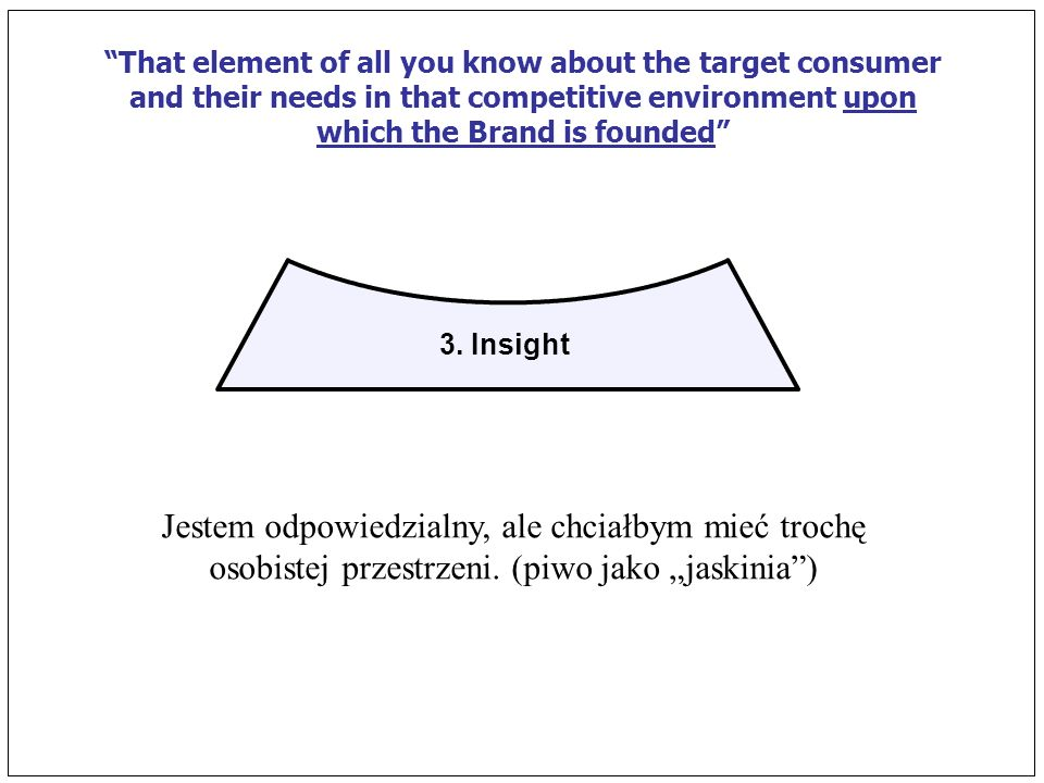 3. Insight That element of all you know about the target consumer and their needs in that competitive environment upon which the Brand is founded Jest