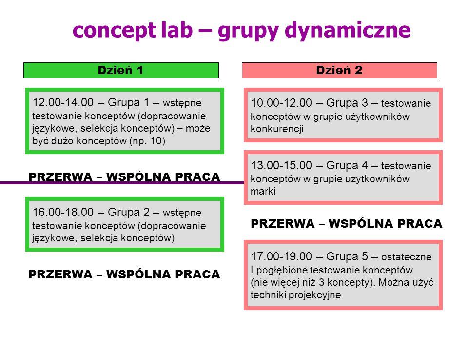 concept lab – grupy dynamiczne Dzień 1Dzień 2 12.00-14.00 – Grupa 1 – wstępne testowanie konceptów (dopracowanie językowe, selekcja konceptów) – może