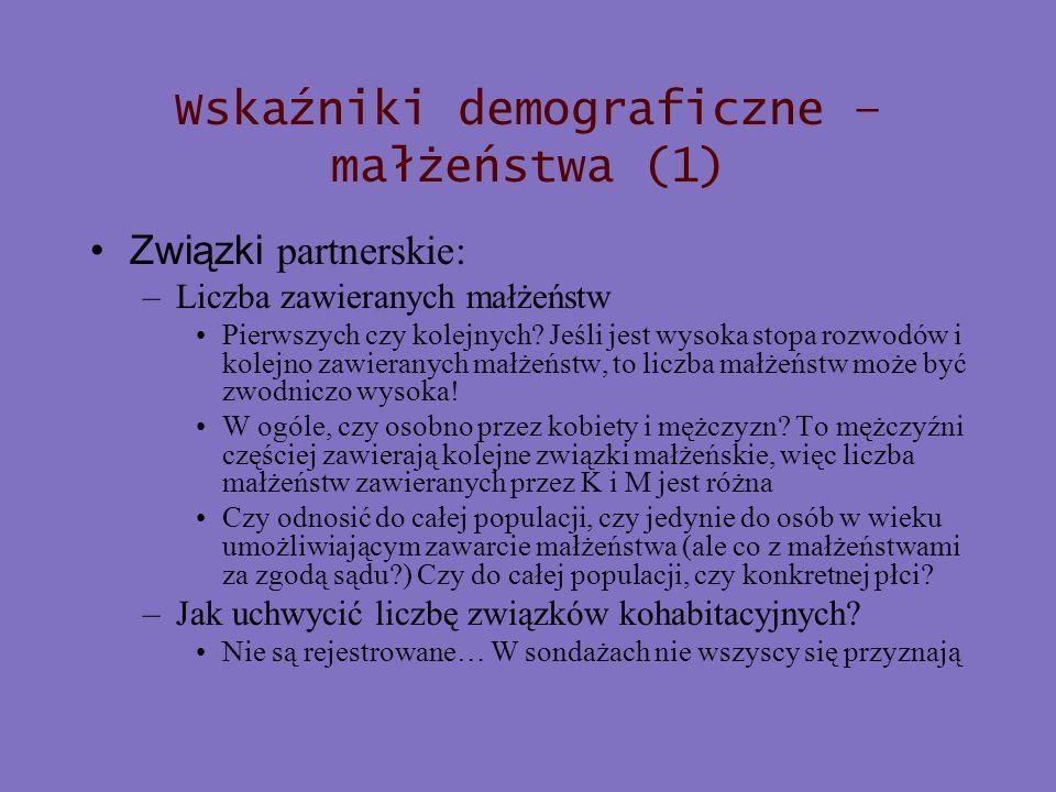 Wskaźniki demograficzne – małżeństwa (1) Związki partnerskie: –Liczba zawieranych małżeństw Pierwszych czy kolejnych? Jeśli jest wysoka stopa rozwodów