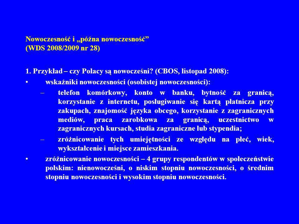 Nowoczesność i późna nowoczesność (WDS 2008/2009 nr 28) 1. Przykład – czy Polacy są nowocześni? (CBOS, listopad 2008): wskaźniki nowoczesności (osobis
