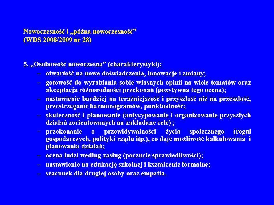 Nowoczesność i późna nowoczesność (WDS 2008/2009 nr 28) 5. Osobowość nowoczesna (charakterystyki): –otwartość na nowe doświadczenia, innowacje i zmian