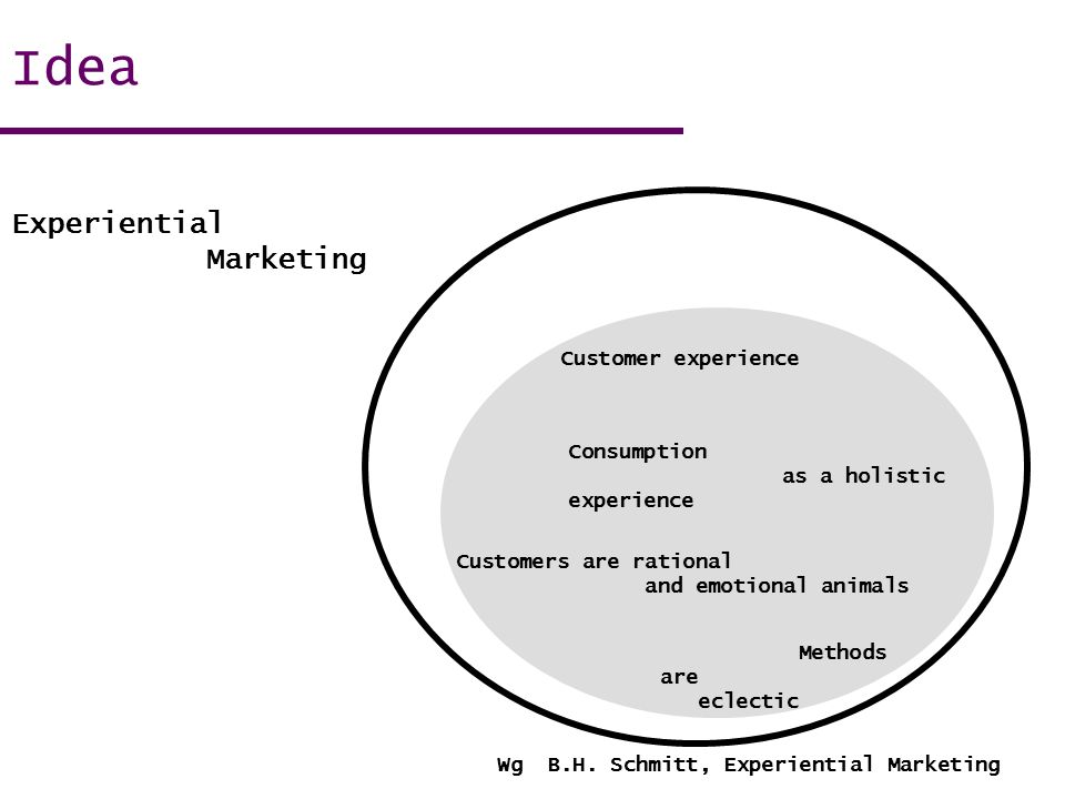 Wg B.H. Schmitt, Experiential Marketing Idea Customer experience Consumption as a holistic experience Customers are rational and emotional animals Met