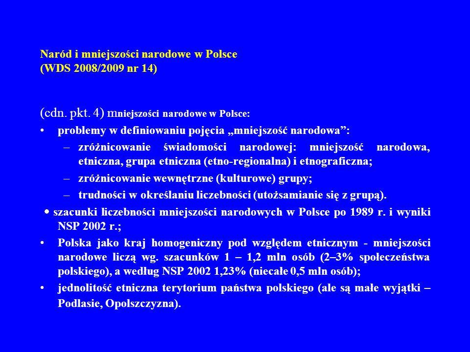 Naród i mniejszości narodowe w Polsce (WDS 2008/2009 nr 14) (cdn. pkt. 4) m niejszości narodowe w Polsce: problemy w definiowaniu pojęcia mniejszość n