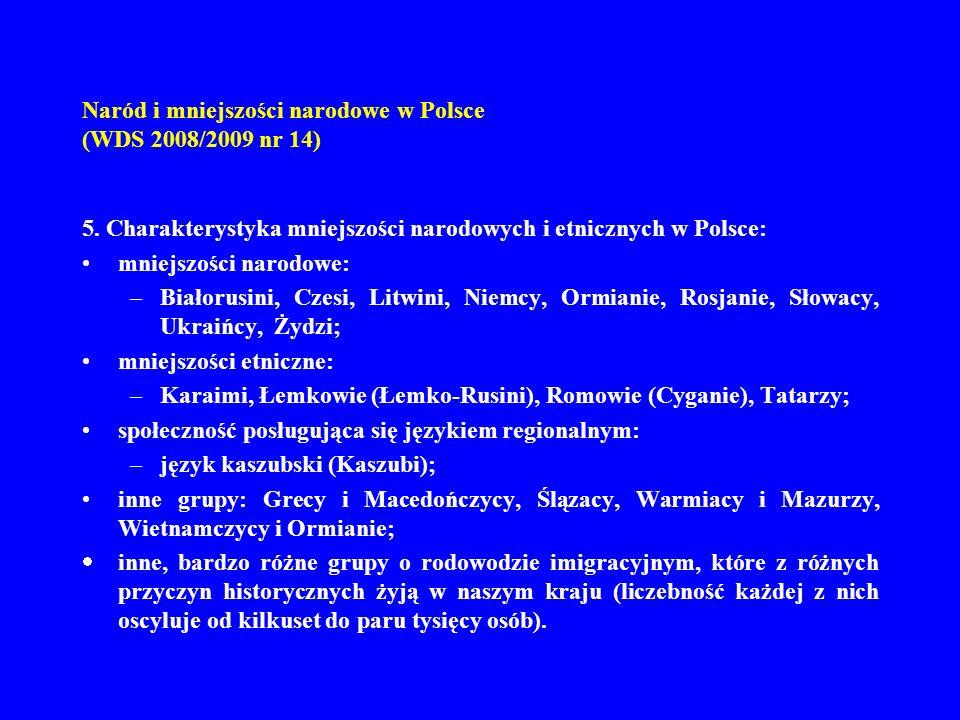 Naród i mniejszości narodowe w Polsce (WDS 2008/2009 nr 14) 5. Charakterystyka mniejszości narodowych i etnicznych w Polsce: mniejszości narodowe: –Bi
