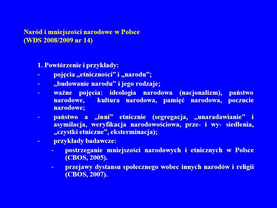 Naród i mniejszości narodowe w Polsce (WDS 2008/2009 nr 14) 1. Powtórzenie i przykłady: -pojęcia etniczności i narodu; -budowanie narodu i jego rodzaj