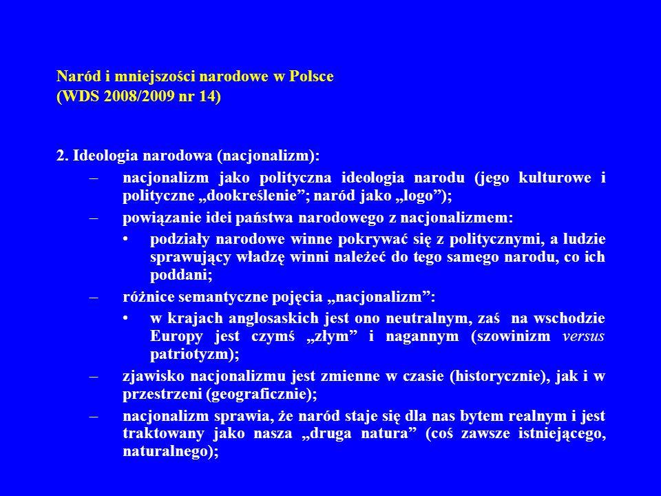 Naród i mniejszości narodowe w Polsce (WDS 2008/2009 nr 14) 2. Ideologia narodowa (nacjonalizm): –nacjonalizm jako polityczna ideologia narodu (jego k