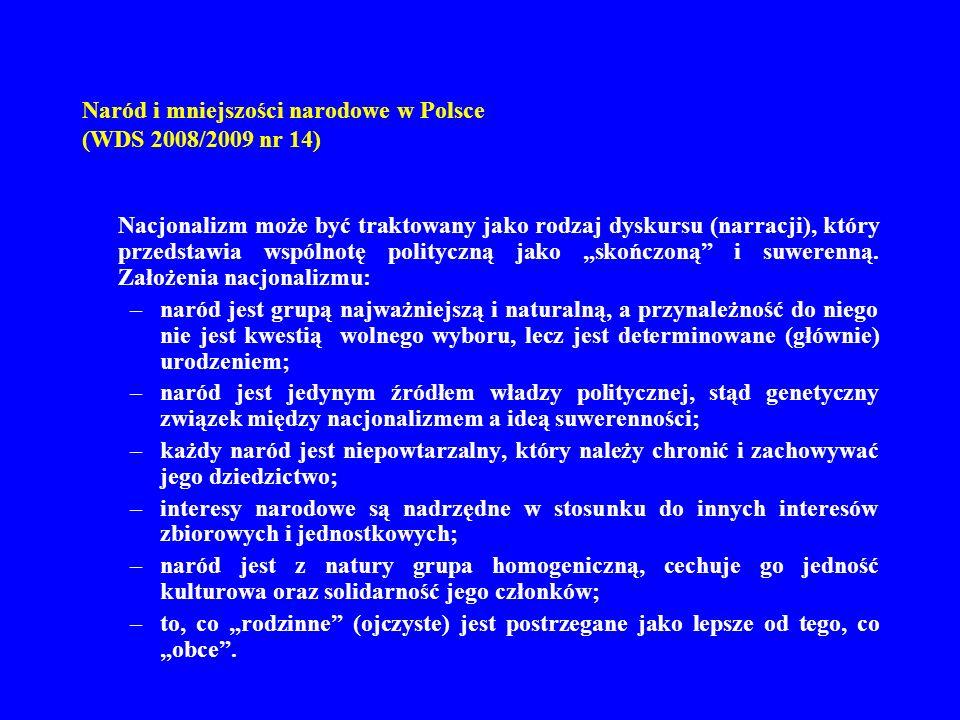 Naród i mniejszości narodowe w Polsce (WDS 2008/2009 nr 14) Nacjonalizm może być traktowany jako rodzaj dyskursu (narracji), który przedstawia wspólno