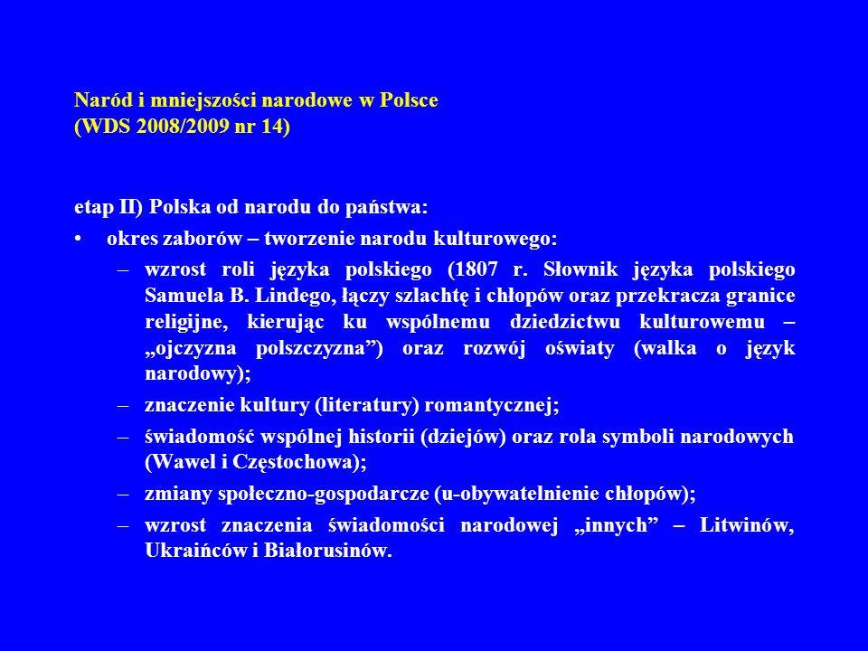 Naród i mniejszości narodowe w Polsce (WDS 2008/2009 nr 14) etap II) Polska od narodu do państwa: okres zaborów – tworzenie narodu kulturowego: –wzros