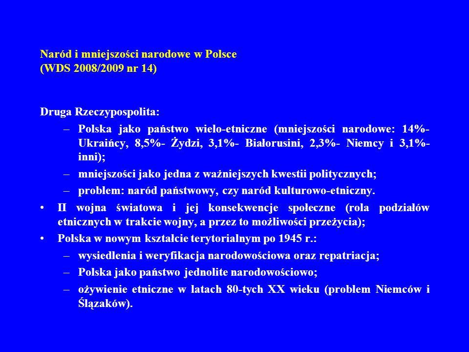 Naród i mniejszości narodowe w Polsce (WDS 2008/2009 nr 14) Druga Rzeczypospolita: –Polska jako państwo wielo-etniczne (mniejszości narodowe: 14%- Ukr