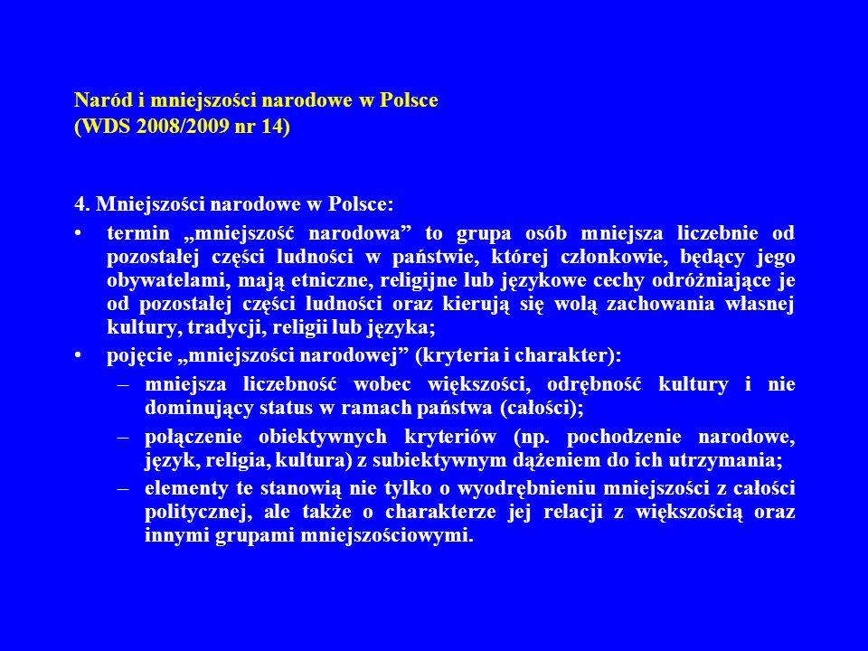 Naród i mniejszości narodowe w Polsce (WDS 2008/2009 nr 14) 4. Mniejszości narodowe w Polsce: termin mniejszość narodowa to grupa osób mniejsza liczeb