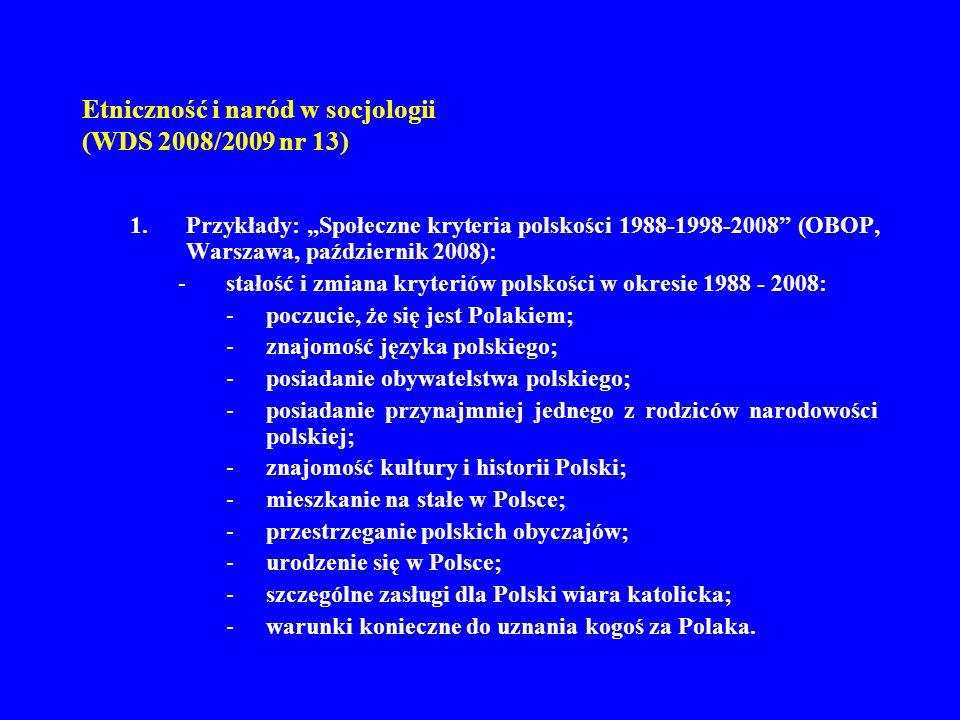 Etniczność i naród w socjologii (WDS 2008/2009 nr 13) 1.Przykłady: Społeczne kryteria polskości 1988-1998-2008 (OBOP, Warszawa, październik 2008): -st