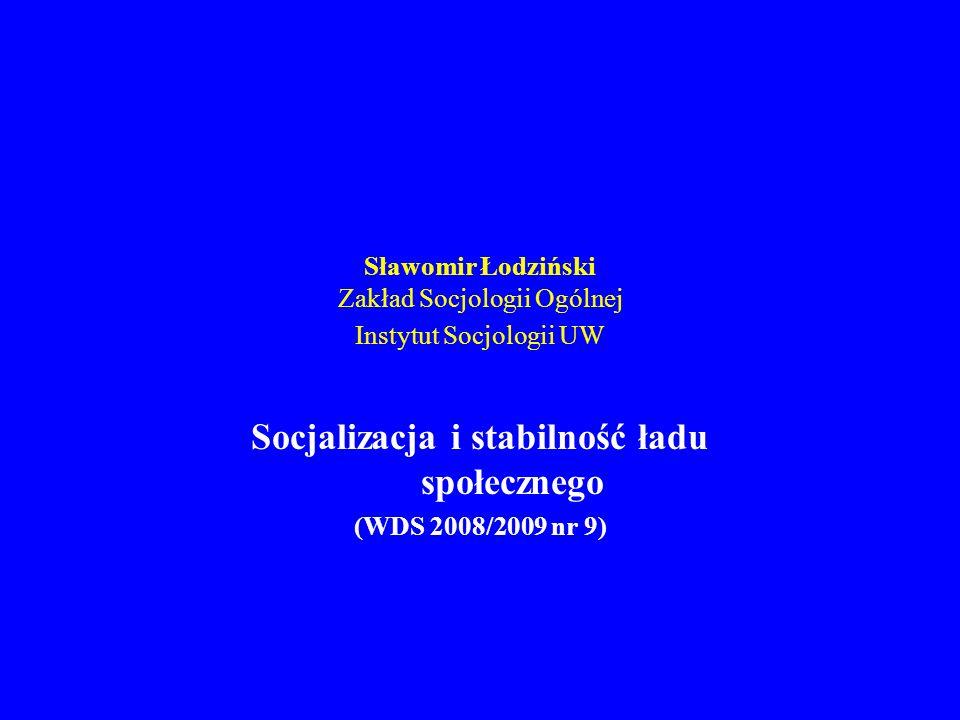 Socjalizacja i stabilność ładu społecznego (WDS 2008/2009 nr 9) 1.