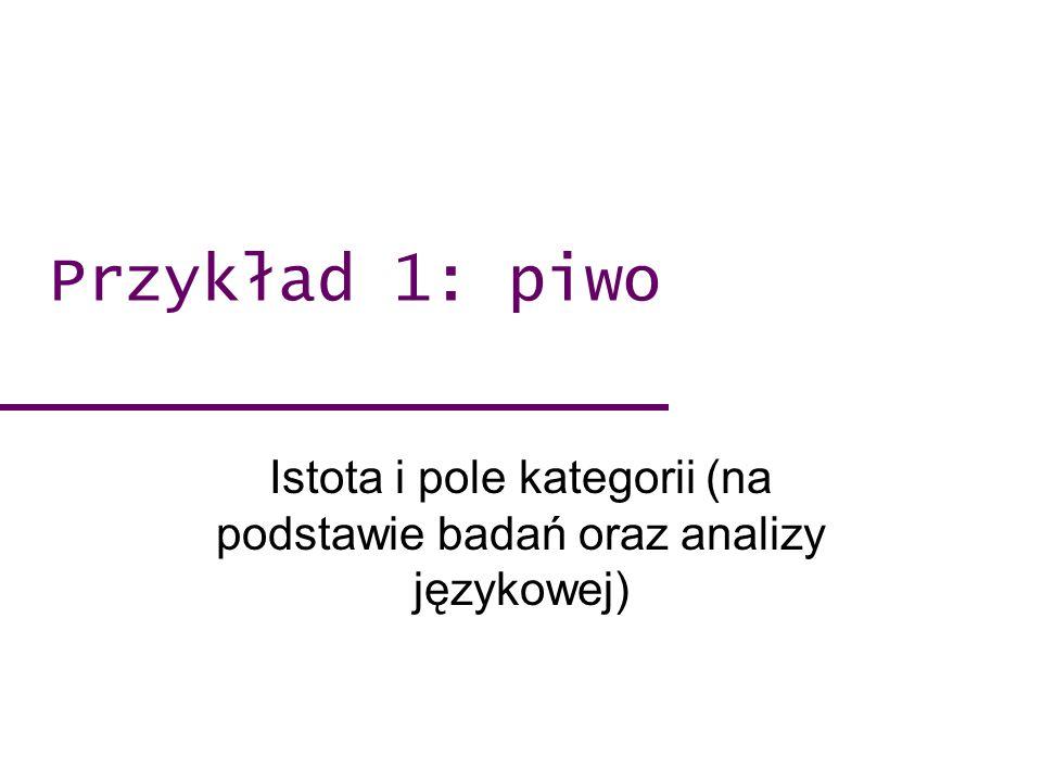 Przykład 1: piwo Istota i pole kategorii (na podstawie badań oraz analizy językowej)