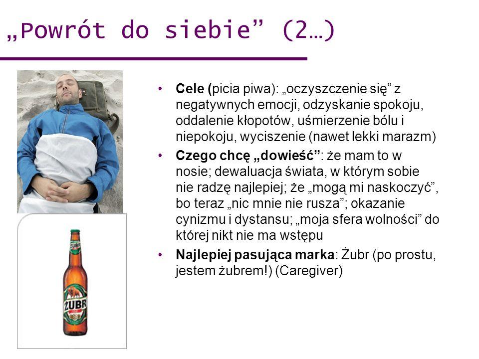 Powrót do siebie (2…) Cele (picia piwa): oczyszczenie się z negatywnych emocji, odzyskanie spokoju, oddalenie kłopotów, uśmierzenie bólu i niepokoju,