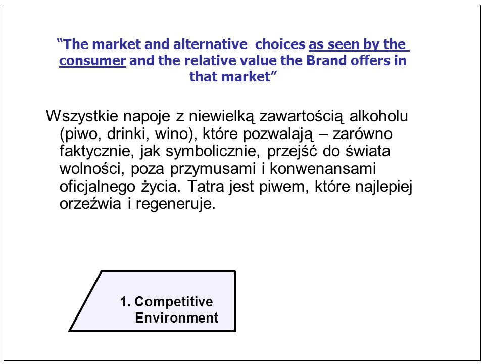 1. Competitive Environment The market and alternative choices as seen by the consumer and the relative value the Brand offers in that market Wszystkie