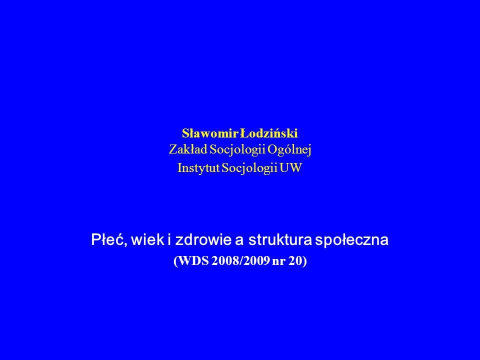 Sławomir Łodziński Zakład Socjologii Ogólnej Instytut Socjologii UW Płeć, wiek i zdrowie a struktura społeczna (WDS 2008/2009 nr 20)