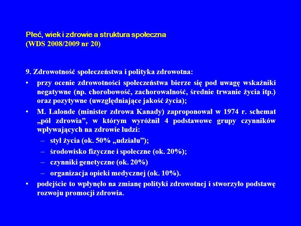 Płeć, wiek i zdrowie a struktura społeczna (WDS 2008/2009 nr 20) 9. Zdrowotność społeczeństwa i polityka zdrowotna: przy ocenie zdrowotności społeczeń