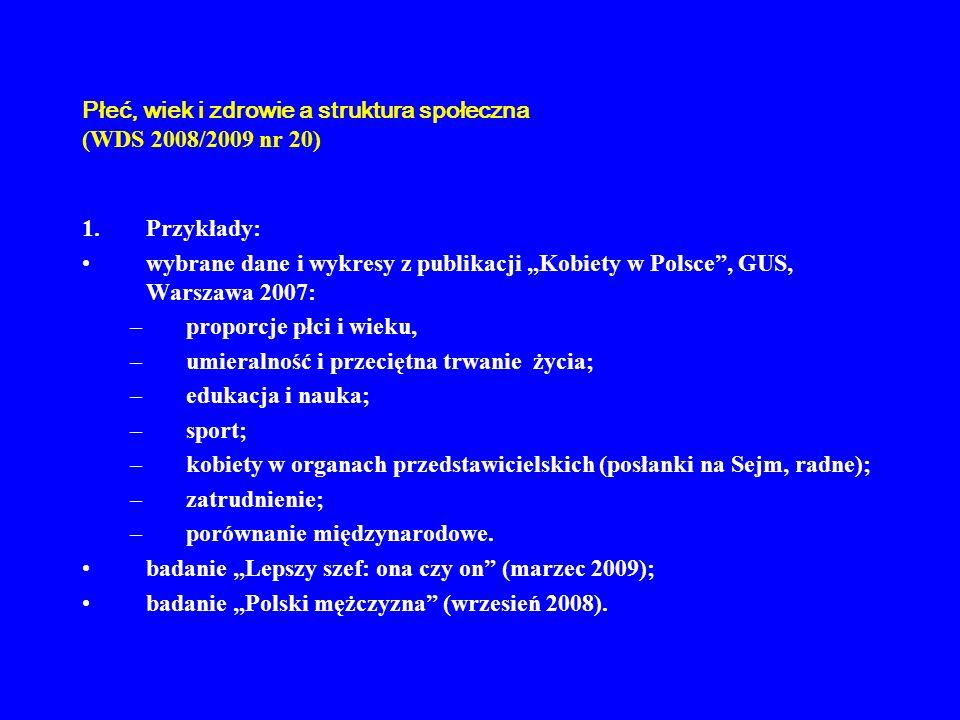 Płeć, wiek i zdrowie a struktura społeczna (WDS 2008/2009 nr 20) 1.Przykłady: wybrane dane i wykresy z publikacji Kobiety w Polsce, GUS, Warszawa 2007