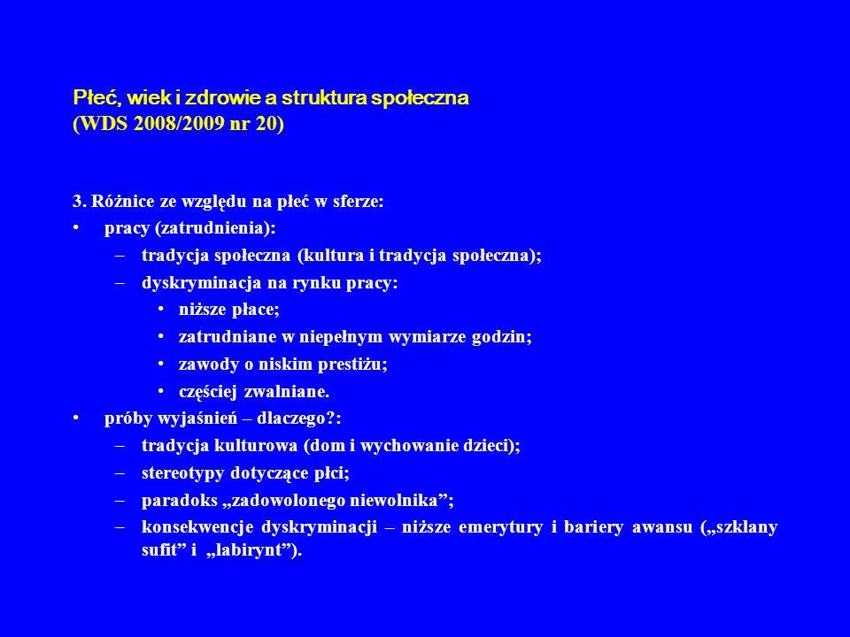 Płeć, wiek i zdrowie a struktura społeczna (WDS 2008/2009 nr 20) 3. Różnice ze względu na płeć w sferze: pracy (zatrudnienia): –tradycja społeczna (ku