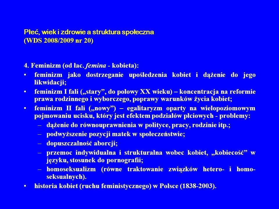 Płeć, wiek i zdrowie a struktura społeczna (WDS 2008/2009 nr 20) 4. Feminizm (od łac. femina - kobieta): feminizm jako dostrzeganie upośledzenia kobie
