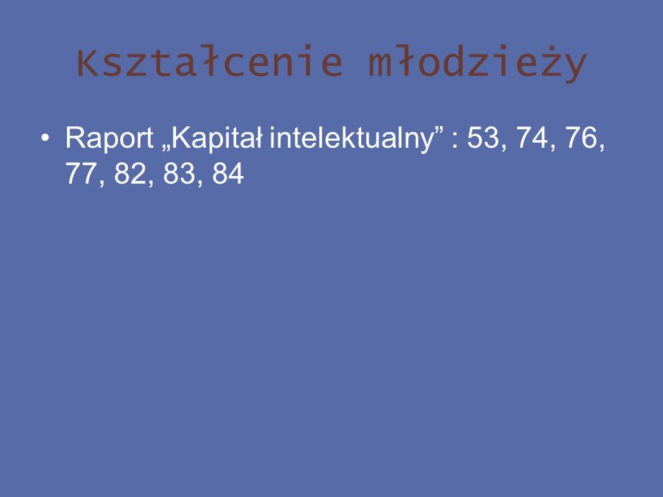 Kształcenie młodzieży Raport Kapitał intelektualny : 53, 74, 76, 77, 82, 83, 84