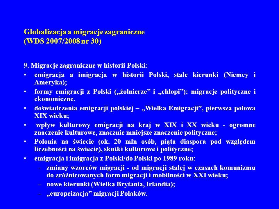 Globalizacja a migracje zagraniczne (WDS 2007/2008 nr 30) 9. Migracje zagraniczne w historii Polski: emigracja a imigracja w historii Polski, stałe ki