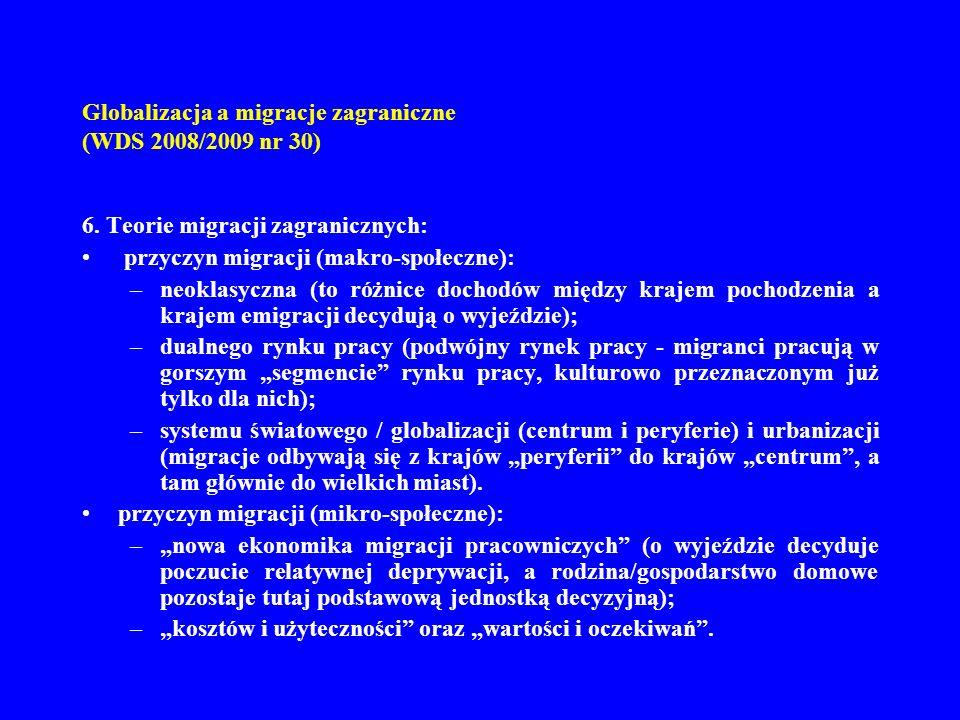 Globalizacja a migracje zagraniczne (WDS 2008/2009 nr 30) 6. Teorie migracji zagranicznych: przyczyn migracji (makro-społeczne): –neoklasyczna (to róż