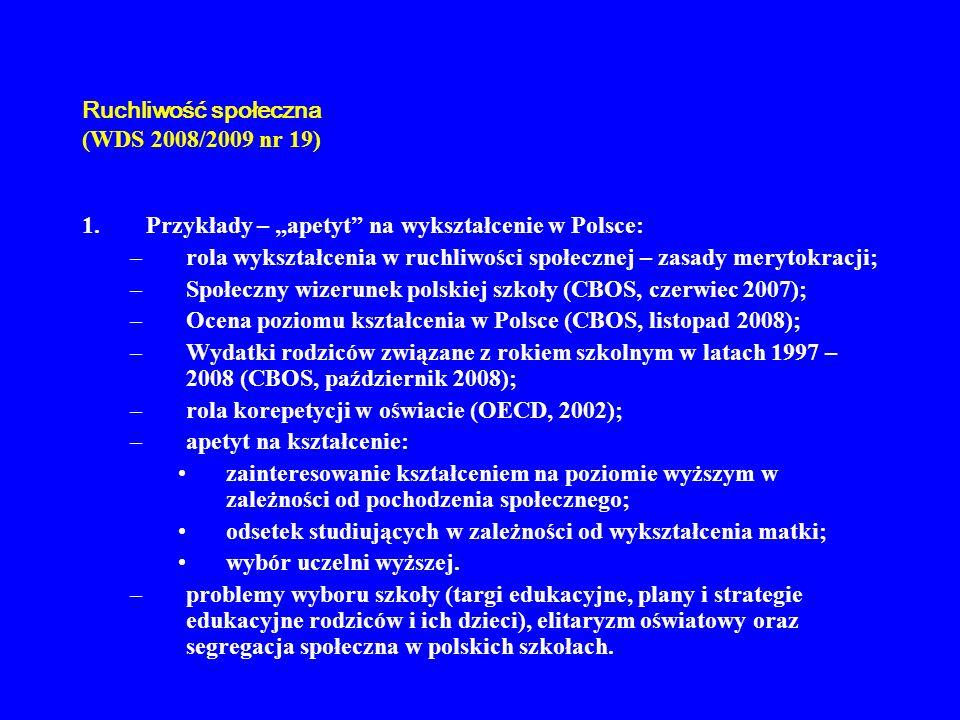 Ruchliwość społeczna (WDS 2008/2009 nr 19) 1.Przykłady – apetyt na wykształcenie w Polsce: –rola wykształcenia w ruchliwości społecznej – zasady meryt