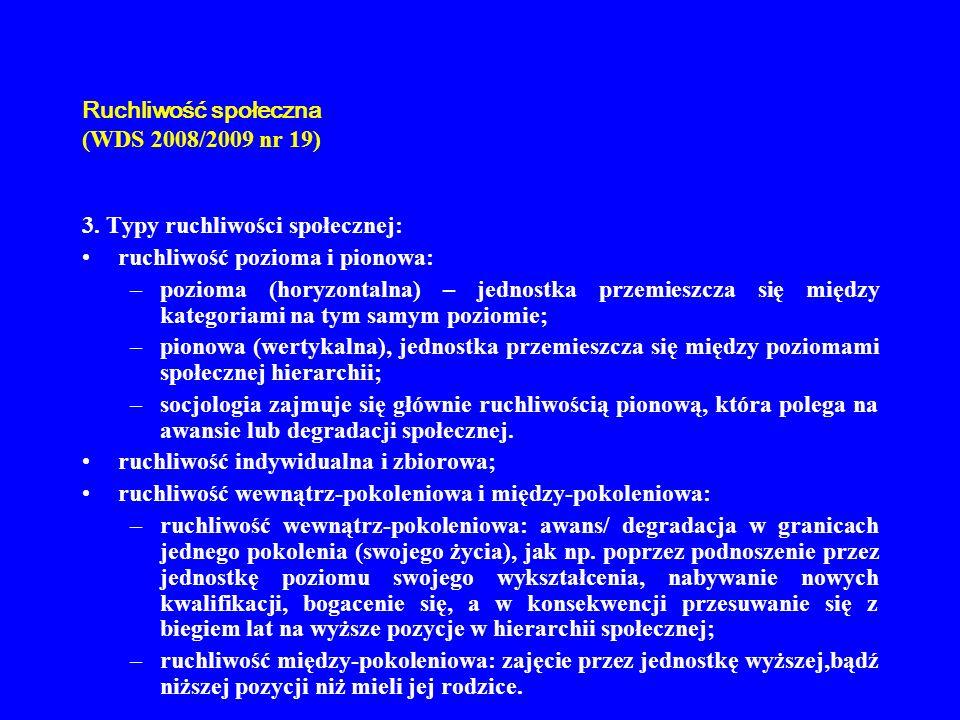 Ruchliwość społeczna (WDS 2008/2009 nr 19) 3. Typy ruchliwości społecznej: ruchliwość pozioma i pionowa: –pozioma (horyzontalna) – jednostka przemiesz