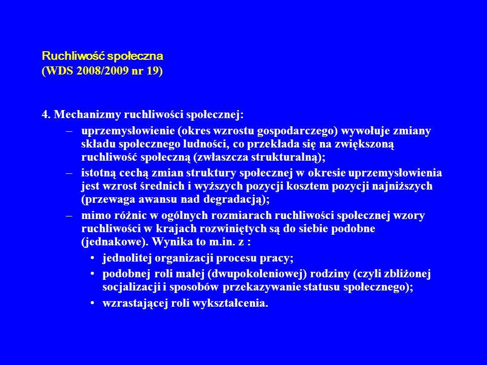 Ruchliwość społeczna (WDS 2008/2009 nr 19) 4. Mechanizmy ruchliwości społecznej: –uprzemysłowienie (okres wzrostu gospodarczego) wywołuje zmiany skład
