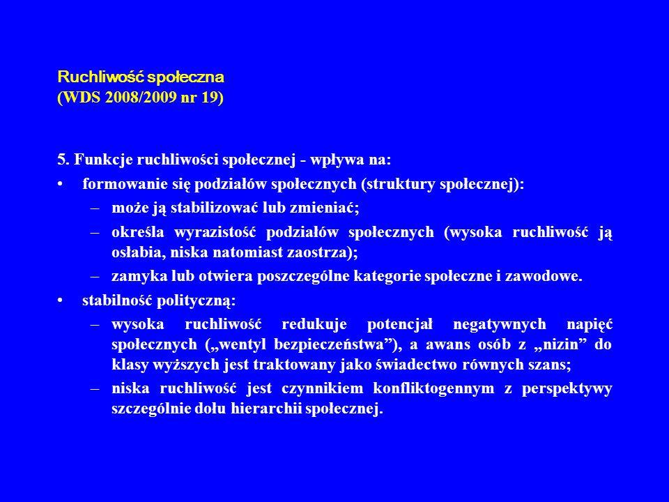 Ruchliwość społeczna (WDS 2008/2009 nr 19) 5. Funkcje ruchliwości społecznej - wpływa na: formowanie się podziałów społecznych (struktury społecznej):