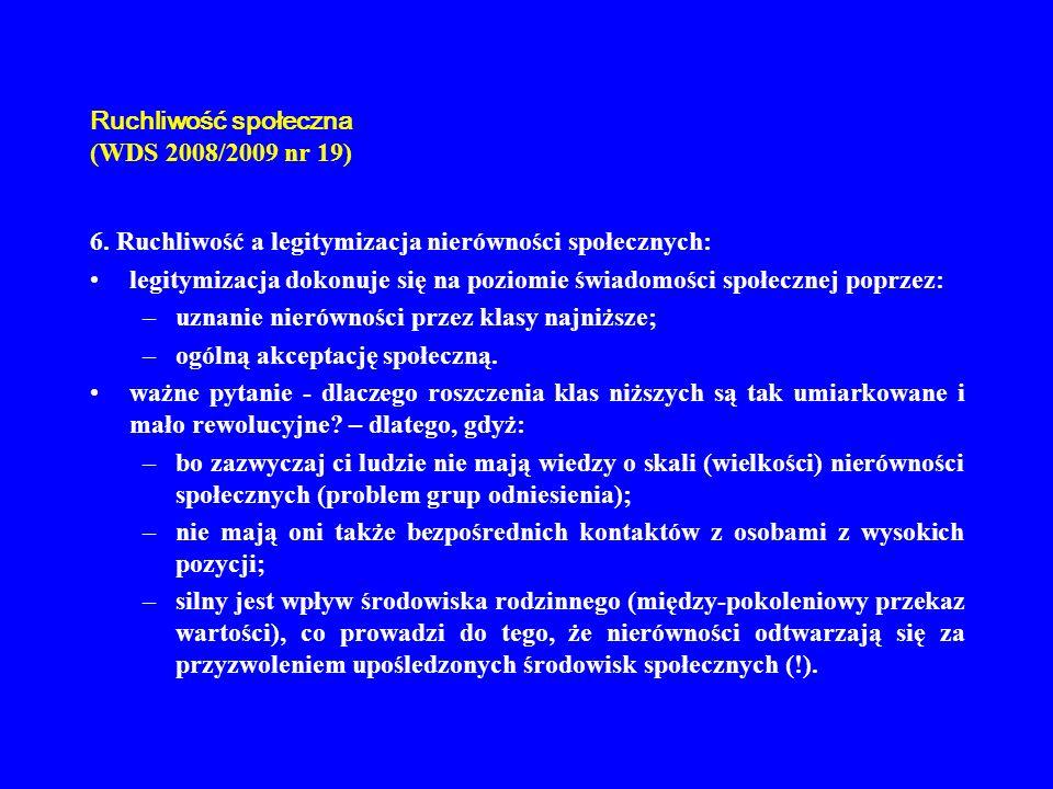 Ruchliwość społeczna (WDS 2008/2009 nr 19) 6. Ruchliwość a legitymizacja nierówności społecznych: legitymizacja dokonuje się na poziomie świadomości s