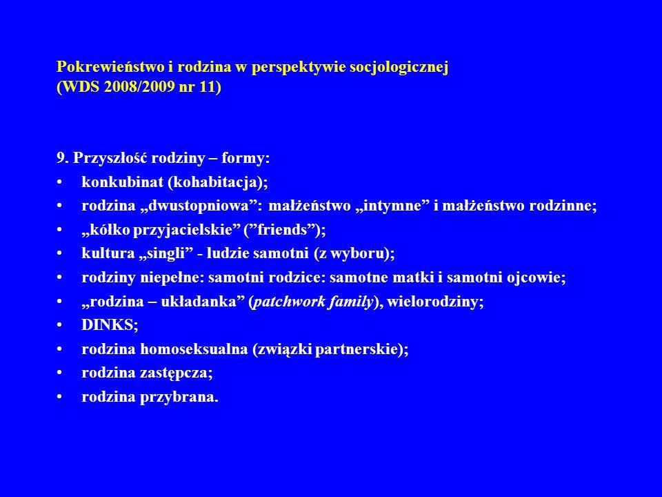 Pokrewieństwo i rodzina w perspektywie socjologicznej (WDS 2008/2009 nr 11) 9. Przyszłość rodziny – formy: konkubinat (kohabitacja); rodzina dwustopni