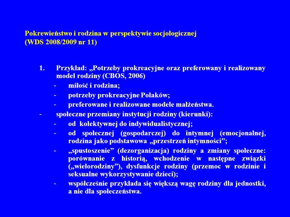 Pokrewieństwo i rodzina w perspektywie socjologicznej (WDS 2008/2009 nr 11) 1.Przykład: Potrzeby prokreacyjne oraz preferowany i realizowany model rod