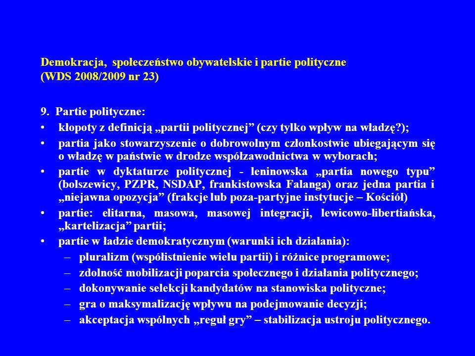 Demokracja, społeczeństwo obywatelskie i partie polityczne (WDS 2008/2009 nr 23) 9. Partie polityczne: kłopoty z definicją partii politycznej (czy tyl
