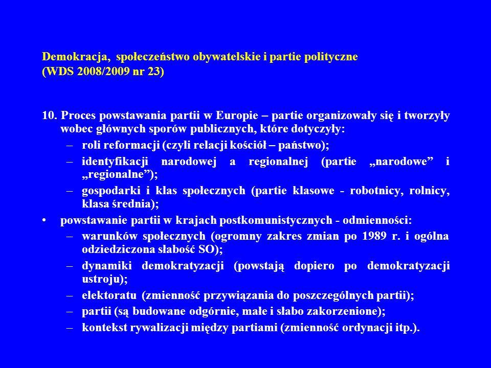 Demokracja, społeczeństwo obywatelskie i partie polityczne (WDS 2008/2009 nr 23) 10. Proces powstawania partii w Europie – partie organizowały się i t