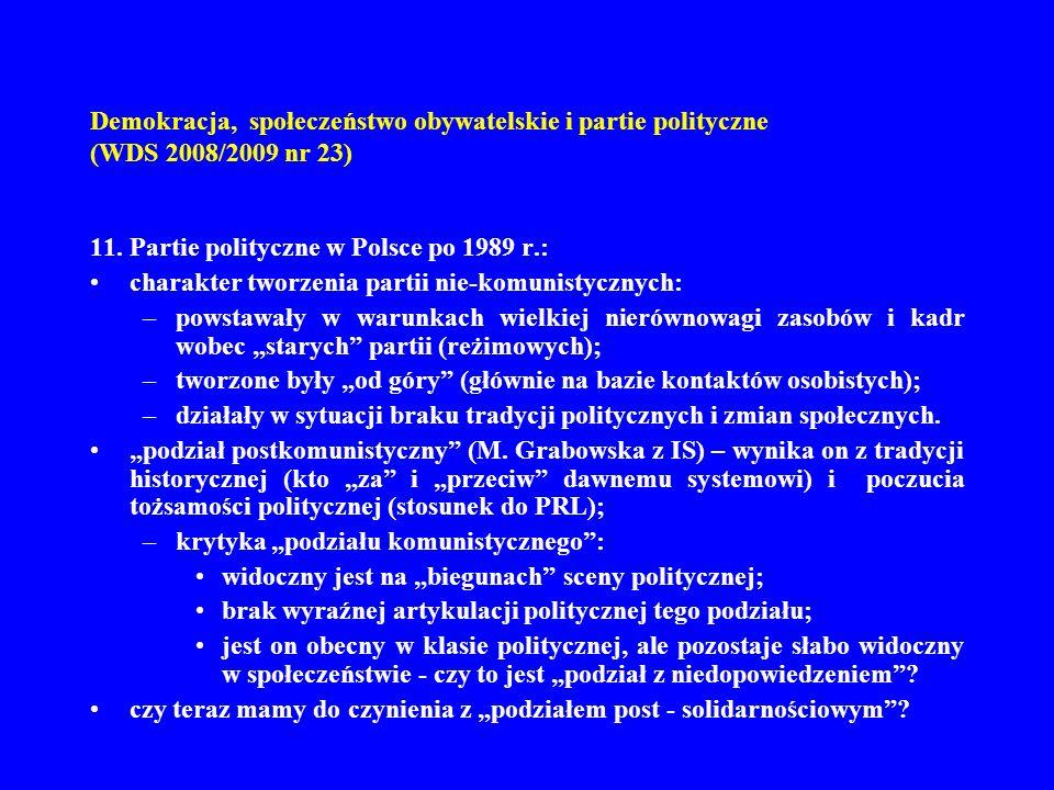 Demokracja, społeczeństwo obywatelskie i partie polityczne (WDS 2008/2009 nr 23) 11. Partie polityczne w Polsce po 1989 r.: charakter tworzenia partii