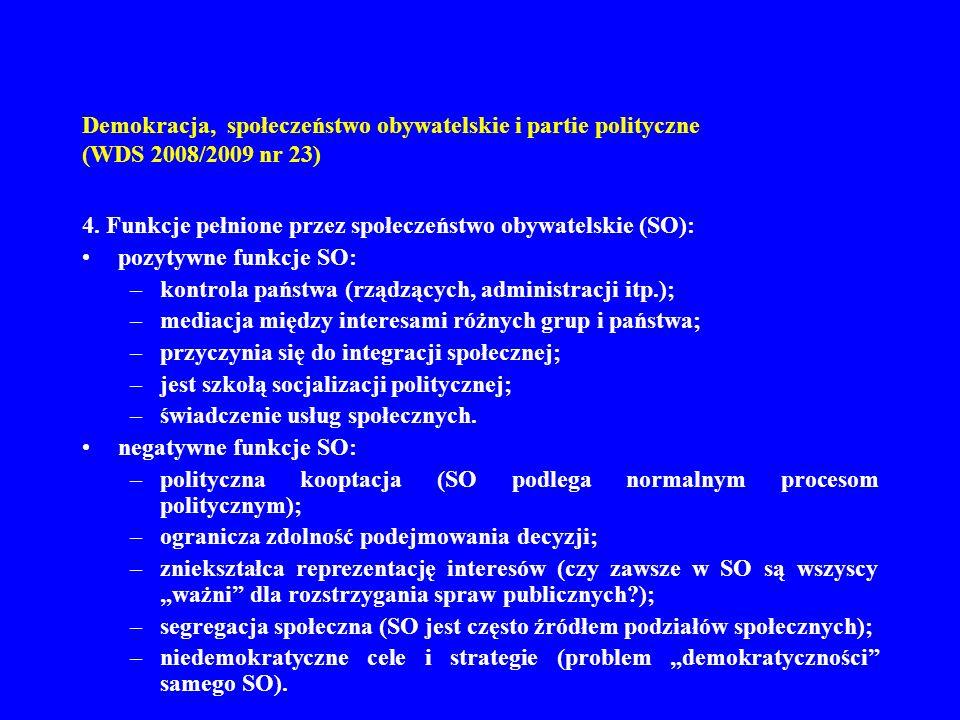 Demokracja, społeczeństwo obywatelskie i partie polityczne (WDS 2008/2009 nr 23) 4. Funkcje pełnione przez społeczeństwo obywatelskie (SO): pozytywne